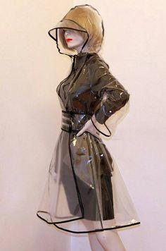 PVC Plastic Transparent Trench Raincoat dress Vinyl Coat Clear PU with Black Trim Clear Raincoat, Vinyl Raincoat, Pvc Raincoat, Plastic Raincoat, Yellow Raincoat, Space Fashion, Fashion Design, Transparent Raincoat, Top Mode