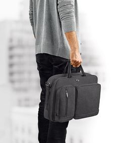 690ae0ff1 Solo Duane 15.6 Inch Laptop Hybrid Briefcase Converts to Backpack Grey >>>  Details can