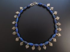 Afghan Natural Lapis Lazuli Beaded Necklace with vantage silver beads.