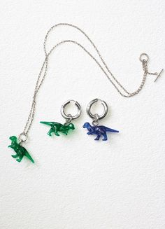 Toy Dinosaur Necklace and Earrings - Céline