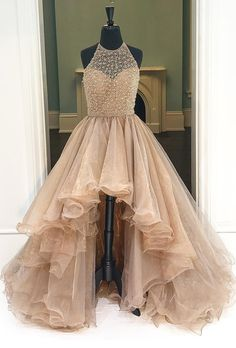 Prom Dress,Champagne High-Low Prom Dress Featuring Halter Neck Bodice,Prom Gowns,prom dresses,prom dress 2017