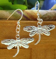 Silver or Gold Plated Dragonfly Charm Dangle Earrings in Pierced or Clip On Style for Nonpierced Ears on Etsy, $4.49 CAD