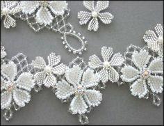 Kronleuchterjuwelen Glasperlenschmuck - Hochzeitscollier mit Blumen (Detailseite 3)