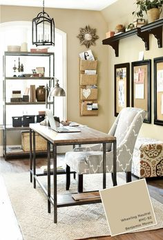 Grey and beige home office with black accents and Wheeling Neutral paint by Benjamin Moore