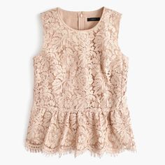 Crew for the Lace peplum top for Women. Find the best selection of Women Shirts & Tops available in-stores and online. Pink Lace Tops, Lacy Tops, Evening Blouses, Evening Tops, Lace Peplum, Peplum Blouse, Petite Tops, Mode Style, Outfits