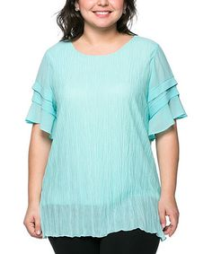 Loving this Light Blue Tier-Sleeve Top - Plus on #zulily! #zulilyfinds