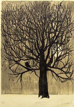 Sigmund Abeles Winter Tree, 1960 Woodcut, two color Bates Winter Trees, Wood Engraving, Linocut Prints, Woodblock Print, Tree Art, Fractals, Art Museum, Printmaking, Photo Art