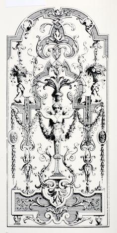 """Jean Berain I, grotesque, planche tirée de : """" Ornements inventés par J. Berain"""", vers 1700-1713."""