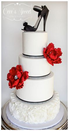 Rosette Ruffle Cake with fondant heel and red peony fantasy flowers. This was created for a Sweet 16 :D....Cake made by Cece's Sweet Creations http://cecessweetcreations.com/index.html