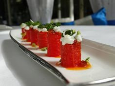 """""""When one has tasted watermelon, he knows what the angels eat"""" – Mark Twain.  #Watermelon & Goat #Cheese Cannelloni @ #Sevilla #TheClaridgesNewDelhi"""
