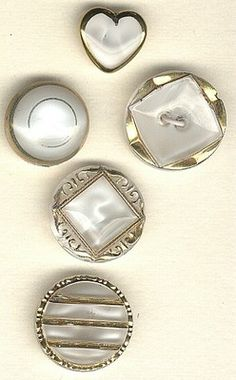 SOLD: White moonglow glass buttons vintage with gold luster buttons  $16.00