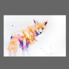 JEN BUCKLEY Original RED FOX Signed Watercolour PAINTING signed large A3