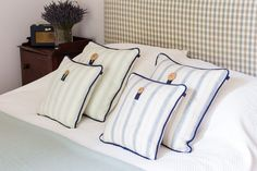 Tay Cushions - from £75 Our Tay cushions are a lovely linen and cotton mix, specially designed by a family-run fabric maker in Scotland and perfectly suited for those sensitive to wool. They're crisp and fresh, perfect to adorn your bedroom or sitting room. The fabric enhances the beautiful fragrance of the lavender too and a pocket of fresh lavender is buttoned onto the front of the cushion. Bed Pillows, Cushions, Crisp, Scotland, Pillow Cases, Lavender, Fragrance, Colours, Pocket