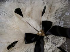feather fan Collection with Black handles