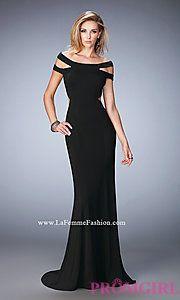 Buy Open Back Off the Shoulder Long Prom Dress by La Femme at PromGirl