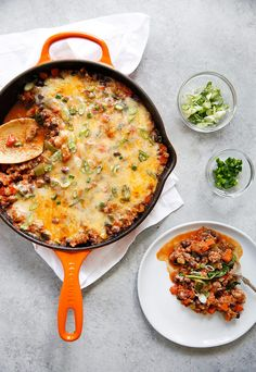 30-Minute Loaded Taco Skillet | No Beans/Cheese | Serve over rice | Top with toppings!