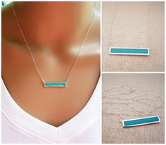 Turquoise Bar Necklace - Sterling Silver Bar Necklace - Turquoise Jewelry - Sterling Silver Jewelry - Minimalist Necklace - Gift for Her