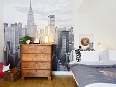 the boo and the boy: Rooms for teen boys cityscape wallpaper, rustic wood dresser