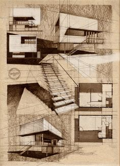 Moderne Villa von Alina Surduleasa - Architecture-ah-ha! Architecture Design Concept, Architecture Sketchbook, Architecture Graphics, Architecture Student, Art And Architecture, Classical Architecture, Architecture Diagrams, Chinese Architecture, Architecture Portfolio