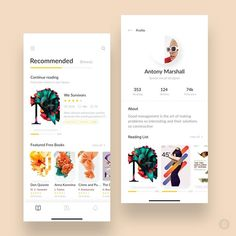 Reading app by Regen G.  Get Inspired daily!   Follow along at @design.bot.  Get featured! Tag your work with #designbot Ui Design Mobile, Web Ui Design, Library App, Flat Ui, Mobile App Ui, Ui Design Inspiration, Art Pages, Cool Words, Creativity