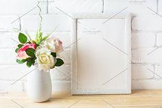Shabby chic style white frame mockup by TSTStockMockupPhotos on @creativemarket