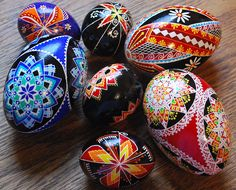 Goose and chicken pysanky.
