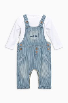 Buy Blue/White Stripe Dungarees And Bodysuit Set (0mths-2yrs) from the Next UK online shop