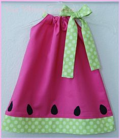 Inspiration pic for watermelon pillowcase dress!! Could do fabric or felt appliqué seeds! for you @Angela Smith