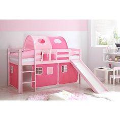 Halfhoogslaper met glijbaan Manuel - massief grenen - roze gelakt - kleur roze-pink - zonder tunnel