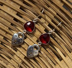 Red Quartz Heart-Lock Charm Earrings / by gemsnjewelryworld
