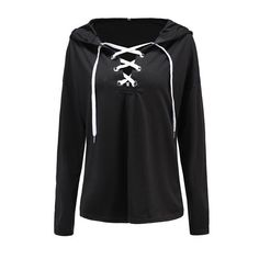 Rotita Long Sleeve Hooded Collar Lace Up Sweatshirt ($29) ❤ liked on Polyvore featuring tops, hoodies, sweatshirts, black, hooded pullover sweatshirt, hooded top, lace front sweatshirt, collared sweatshirt and lace up top