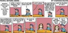 Stephan Pastis dates Cathy! | Pearls Before Swine on GoComics.com #humor #comics