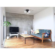 tanickeysさんの、リビング,観葉植物,ソファー,ポスター,テレビ,DIY,コンクリート,シンプル,枝,WTW,漆喰,西海岸,モルタル,セルフリノベーション,白い壁,カリフォルニアスタイル,緑のある暮らし,ARDR,のお部屋写真