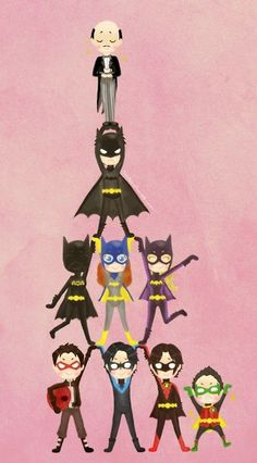 cartoon batfamily.Starting from top:Alfred,Bruce Wayne(Batman),Casandra Cain(Black Bat),Barbara Gordon(Batgirl or Oracle),Stephanie Brown(Batgirl), Jason Todd(Red Hood),Dick Grayson(Nightwing),Tim Drake(Red Robin) and Damian Wayne(Robin)