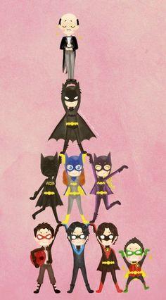 cartoon batfamily.Starting from top:Alfred,Bruce Wayne(Batman),Casandra Cain(Black Bat),Barbara Gordon(Batgirl or Oracle),Stephanie Brown(Batgirl), Jason Todd(Red Hood),Dick Grayson(Nightwing),Tim Drake(Red Robin) and Damian Wayne(Robin)
