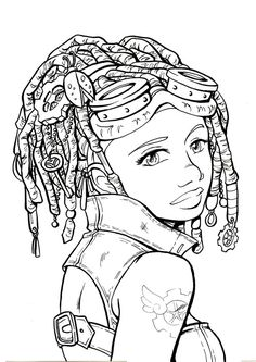 SteamGirl By Sally Jane Thompson Adult Coloring Page