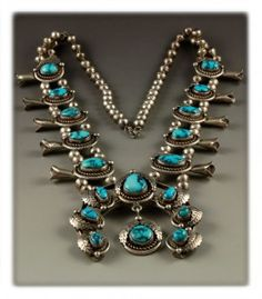 Native American handmade show piece Godber Turquoise Squash Blossom.  Look at the killer natural Godber or Burnham Turquoise in this amazing Navajo necklace