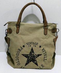 Vintage Big Star Printed Canvas Tote Handbag 5aa8ff36155