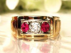 Antique Three Stone Ring 0.30ct Old European Cut Diamond & Ruby Men's Wedding Ring 10K Two Tone Gold Art Deco Ruby Unisex Ring Size 9.5!