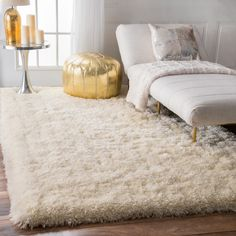 nuLOOM Solid Soft and Plush White/ Grey Shag Rug (7'6 x 9'6) (White), Size 8' x 10'