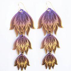 Gold and Purple Triple Lotus Lasercut Wooden by OdeToJoyArt, $26.00