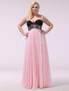 Sexy Pink Sweetheart Neck Draped A-line Chiffon Evening Dress - Milanoo.com