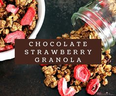 Healthy Chocolate Strawberry Granola recipe that's gluten free, oil free, vegan and quick & easy to make! Perfect for breakfast or even a light Valentine's Day dessert!