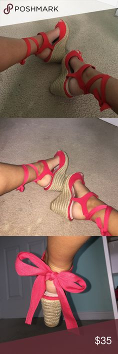 Red Lace Up Wedges Super cute red wedges that can be laced up or tied in the back! HAVE NEVER BEEN WORN! Size 7.5 from Shoe Dazzle. Shoe Dazzle Shoes Wedges