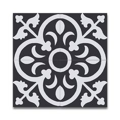Shop for Nador Black and White handmade cement and granite Moroccan tile, 8 Inch X 8 inch floor