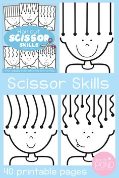 Cutting practice and scissor skills just got a whole lot more fun with our haircut worksheet pack! Each of the 40 haircut pages give students different line styles to cut with increasing complexity. Perfect for preschool, kindergarten and remediation groups. Available for purchase in our TpT store.