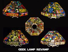 my faux stained glass geek lamp! #StarWars #HarryPotter #DoctorWho #DC #Marvel proudly hanging in my kitchen!