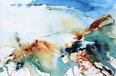 Kelp, Rust and Light, Port Mulgrave, North Yorkshire. Semi abstract watercolour by Adrian Homersham http://adrianhomersham.co.uk/