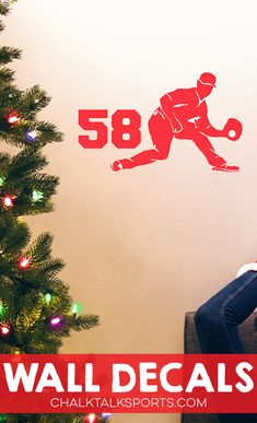 Jazz up your Christmas tree with a baseball wall art decal - personalize them with a player's name and number and sport your pride! Available exclusively at ChalktalkSPORTS!