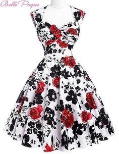 Belle Poque Women Summer Vintage 50s Dresses Audrey Hepburn Elegant Floral  Vestidos Plus Size robe Sexy Pin up Rockabilly Dress 9f34b5045c2